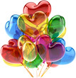 Party balloons happy birthday anniversary decoration as hearts