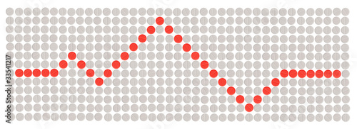 cardiogram shape made with red and white round pills
