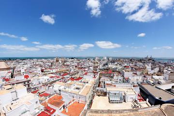 Blick auf Cádiz am Atlantik, Spanien