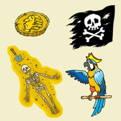 Set of cartoon pirates object