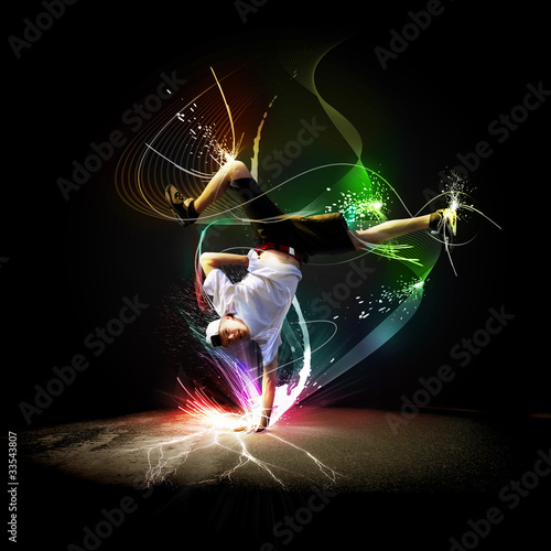 Street dancer in a white shirt