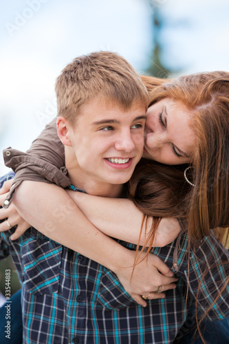 Young couple against the nature