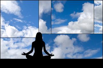 Silhouette di donna yoga su composizione di nuvole