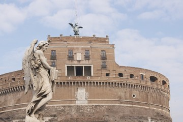 Ancient Roman Castel Sant' Angelo in Rome, Italy.