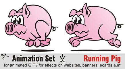 Animation Set Running Pig