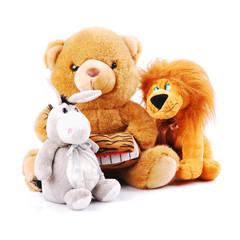 Plush toy animals isolated on a white background