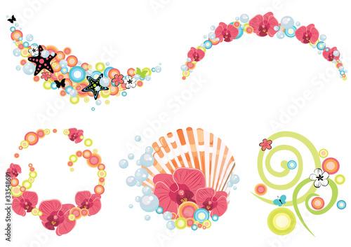 design elements on tropical and summer theme
