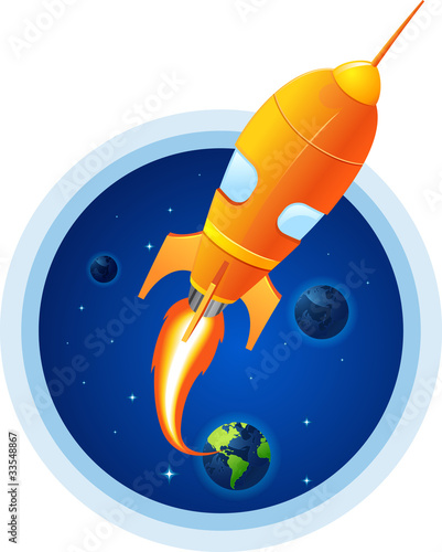 Rocket take off from planet earth flames shoot out