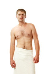 man young handsome athlete with bath towel isolated on white