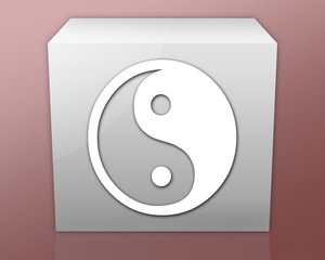 "Box-shaped Icon (red b/g) ""Yin And Yang"""