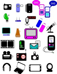 icons for multimedia on white in colors gender friendly
