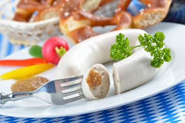 Typisches bayerisches Weißwurstfrühstück