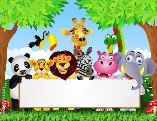 Animal cartoon and blank sign - 33558253