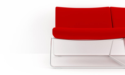 Red sofa detail