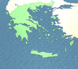 A 3D map of Greece  and surrounding areas on the sea