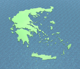 A 3D map of Greece on the sea