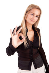 Business woman signaling ok