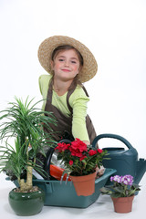 Child pretending to be a florist