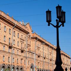 Busy street in the downtown part of Minsk, Belarus