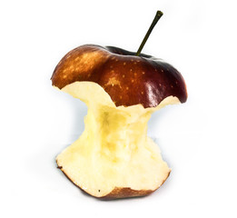 apple core in front of white background