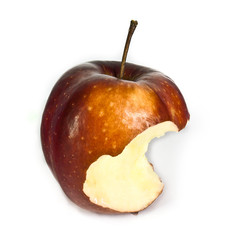 apple eaten in front of white background