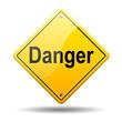 Señal amarilla texto Danger