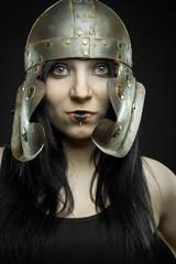 Pretty girl with  roman helmet
