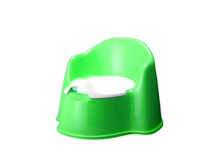 green potty on white background