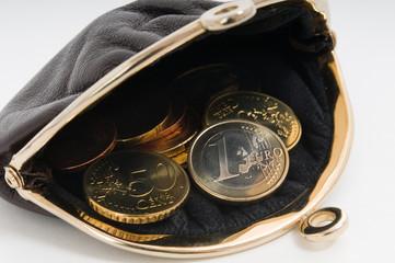 Geldbörse mit Euro-Hartgeld
