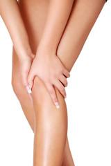 Young woman heaving leg injury