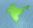 A 3D render of India isolated on sea