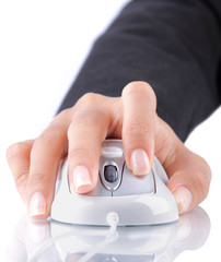 female hand using mouse on white background