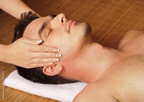 Man getting a face massage