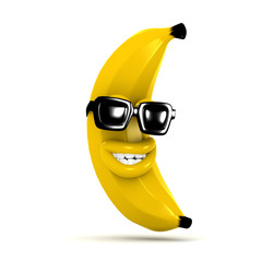 3d Cool banana wears shades and grins lots