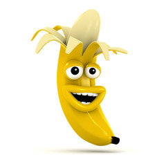 3d Peeled laughing banana
