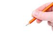 Beim Schreiben / Vorlage / Hand mit Bleistift
