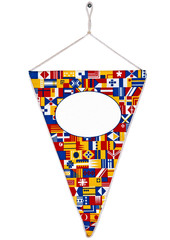 Nice bright funny pennant or triangle flag and screw set with em
