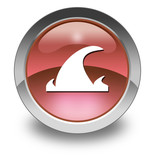 "Red Glossy Pictogram ""Tsunami"""