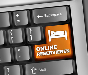 "Keyboard Illustration ""Online reservieren"""