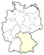 Detaily fotografie Mapa Německo, Bavorsko zvýrazněny