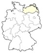 Detaily fotografie Mapa Německo Meklenbursko-Přední Pomořansko zvýrazněny