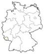 Detaily fotografie Německo Mapa, Sársko zvýrazněny