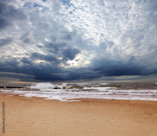 Stormy sea in summer day