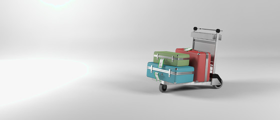 Abstract image of an airport luggage trolley
