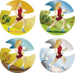 Mulher correndo nas quatro estações.