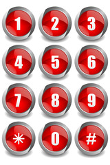 Red Numbers Buttons