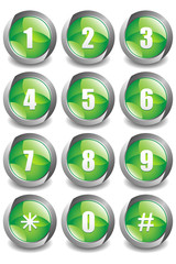 Green Numbers Buttons