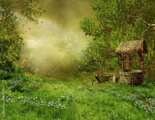 Wiejski krajobraz ze starą studnią