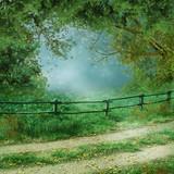 Letni krajobraz z wiejską drogą