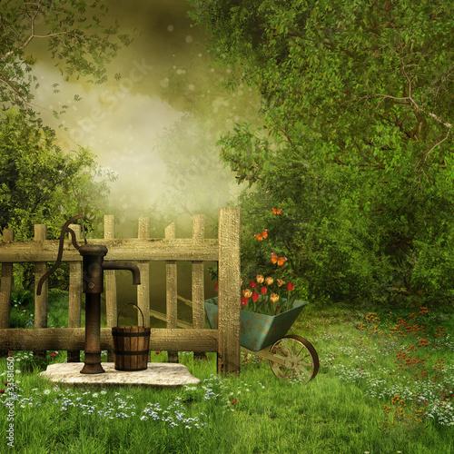 Ogród ze starą pompą